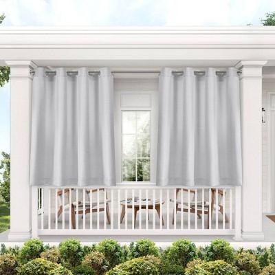 Set of 2 Indoor/Outdoor Solid Cabana Grommet Top Curtain Panels Gray - Exclusive Home