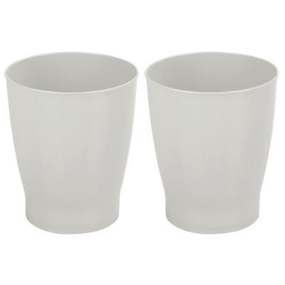 mDesign Slim Plastic Small Round Trash Can Wastebasket Garbage Bin, 2 Pack