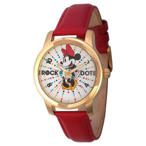 Women's Disney Minnie Mouse Gold Alloy Watch - Red - image 1 of 2