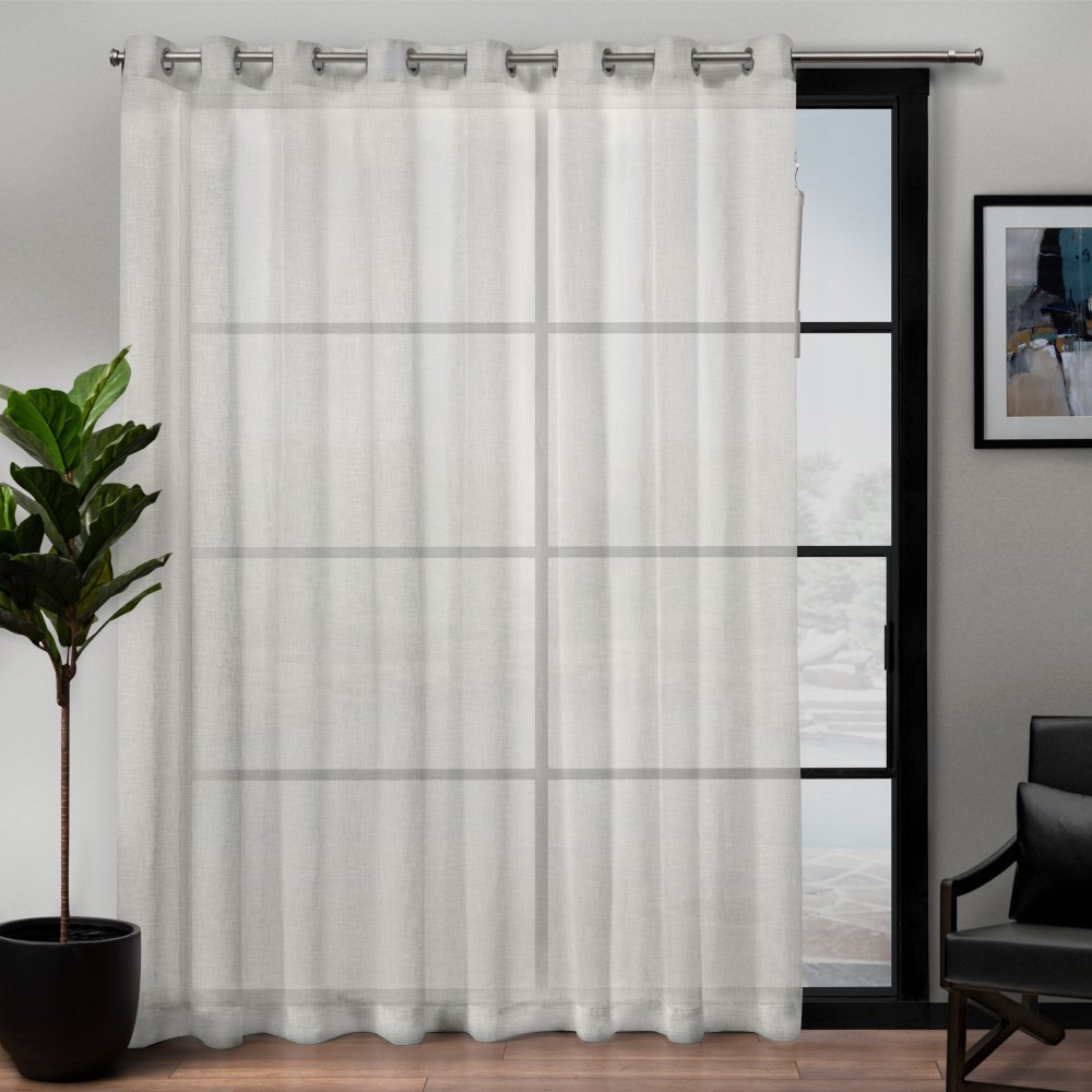 "Image of ""108""""x84"""" Belgian Patio Sheer Grommet Top Single Curtain Panel Snowflake - Exclusive Home"""