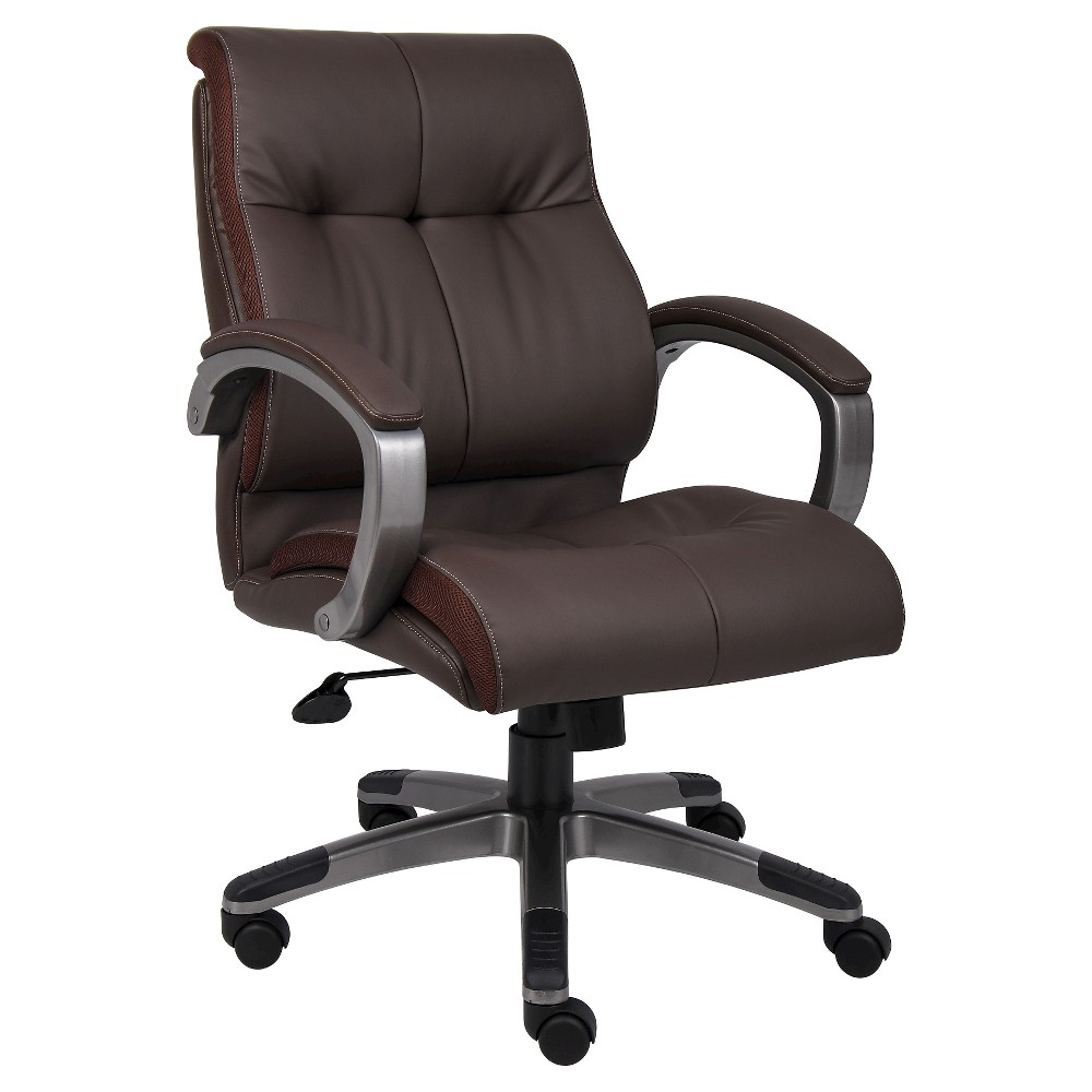 Double Plush Mid Back Executive Chair Black - Boss Office Products, Brown