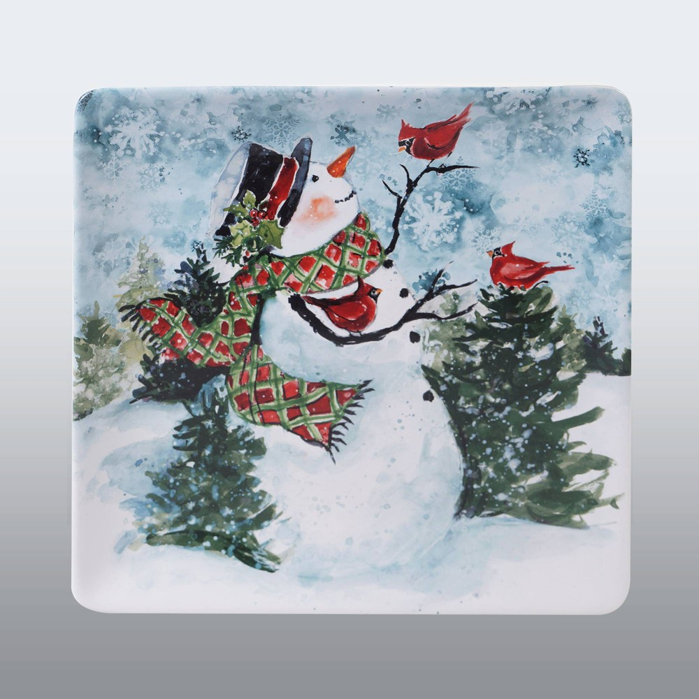"Image of ""12.5"""" Earthenware Watercolor Snowman Serving Platter - Certified International"""