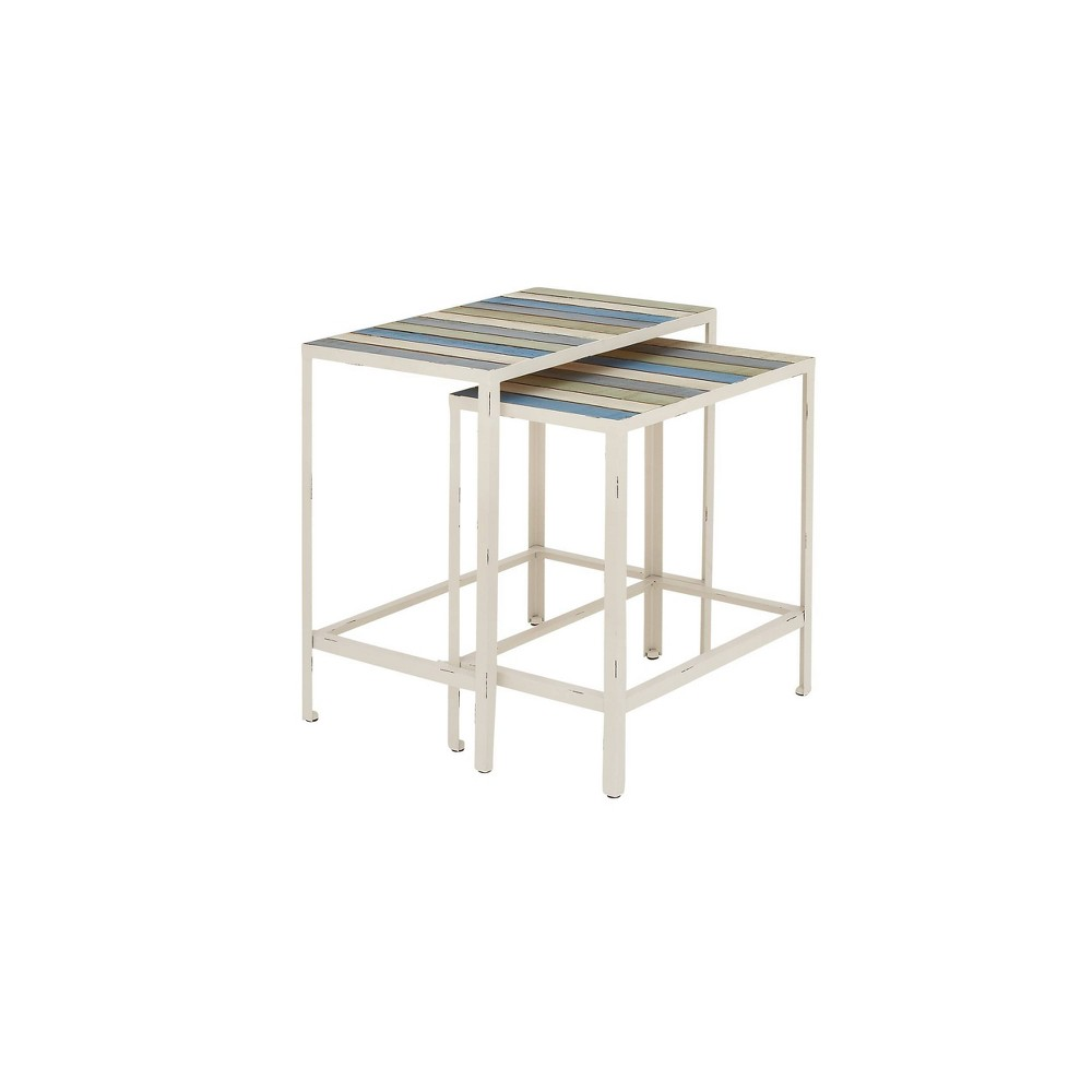 Image of 2pc Accent Table, Metal Rectangular Fir Wood With Distressed Finish - Olivia & May