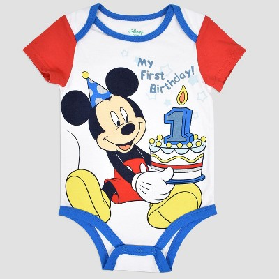 Baby Boys' Disney Mickey Mouse & Friends Mickey Mouse Birthday Bodysuit - White 12M