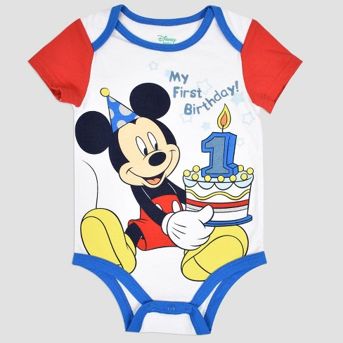 38d7d4d29 Baby Boys' Disney Mickey Mouse & Friends Mickey Mouse Birthday Bodysuit -  White