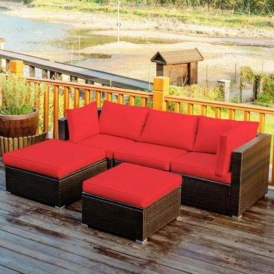 Costway 5pcs Patio Rattan Furniture Set, Red Outdoor Furniture