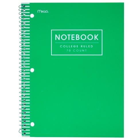 Mead 1 Subject College Ruled Spiral Notebook Green - image 1 of 3