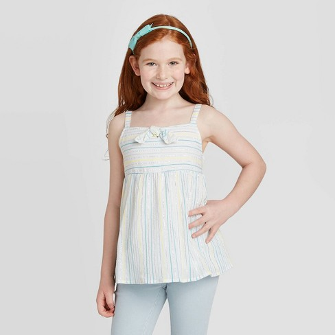 Girls' Shine Tie-Front Woven Tank Top - Cat & Jack™ White - image 1 of 3