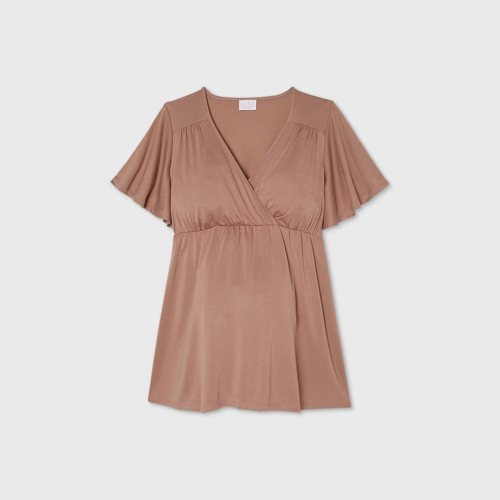 Maternity Flutter Short Sleeve Knit Top Isabel Maternity By Ingrid 38 Isabel 8482 Brown Xxl