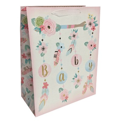 Medium Boho Florals and Feathers Baby Shower Gift Bag - Spritz™