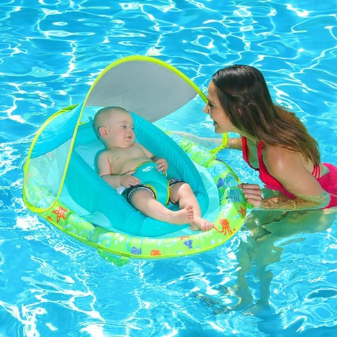 Swimways Inflatable Infant Baby Swimming Pool Float W/ Canopy, Pink (2 Pack)
