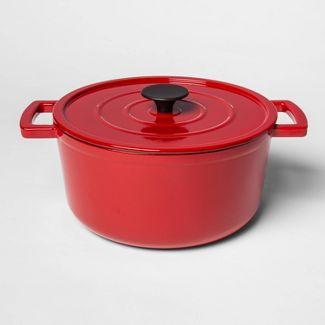 5qt Cast Iron Round Dutch Oven Red - Threshold™