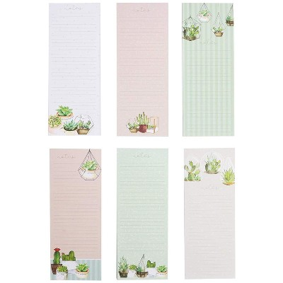 """Paper Junkie 12x Succulents Magnetic Notepads Grocery Shopping List for Refrigerator 3.5 x 9"""""""