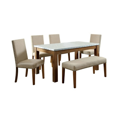 Sun Pine 6pc Nail Head Trimmed Iron Table Top Dining Set Wood Natural Tone