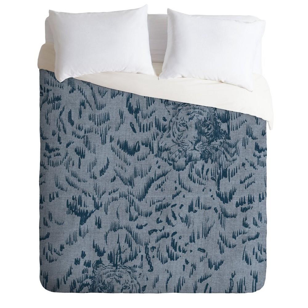 King Pattern State Tiger Print Sketch Comforter Set Blue - Deny Designs