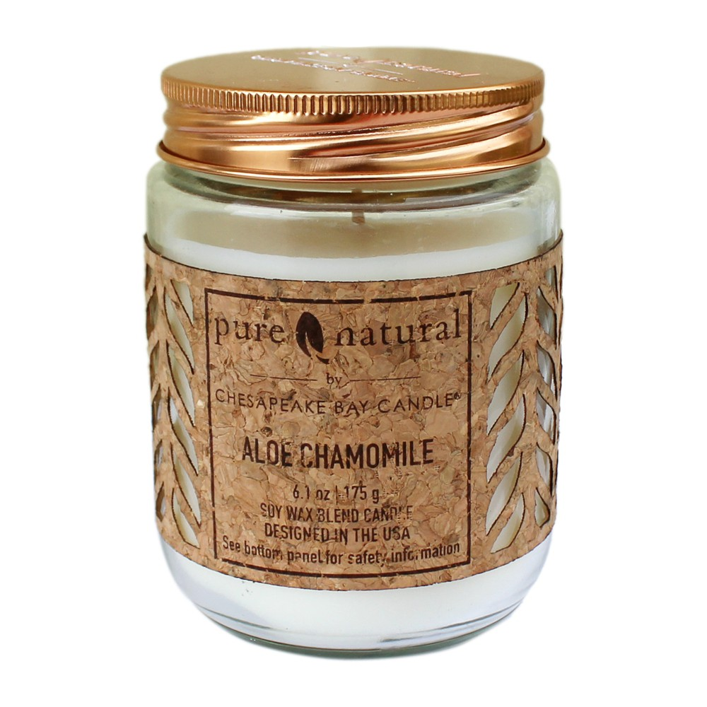 6.1oz Lidded Glass Jar Candle Aloe Chamomile - Chesapeake Bay Candle, White