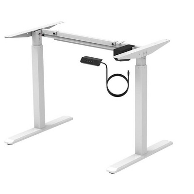 Monoprice Height Adjustable Sit-Stand Riser Table Desk Frame - White With Electric Single Motor, Compatible With Desktops From 39in-63in Wide