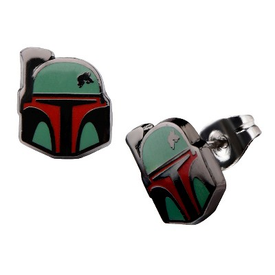 Women's Star Wars Boba Fett Stainless Steel Enamel Stud Earrings