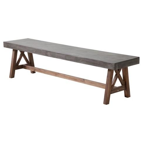 71 Acacia Wood Outdoor Bench Gray Zm Home