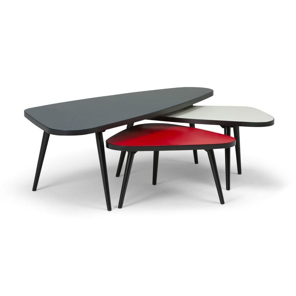 Mackenzie 3pc Nesting Coffee Table Set Midnight Black/Red/White - Wyndenhall