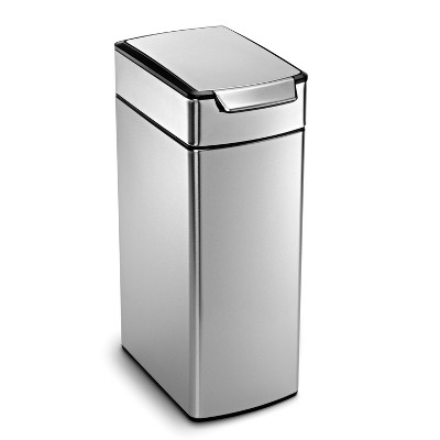 simplehuman 40L Slim Touch Bar Trash Can Brushed Stainless Steel