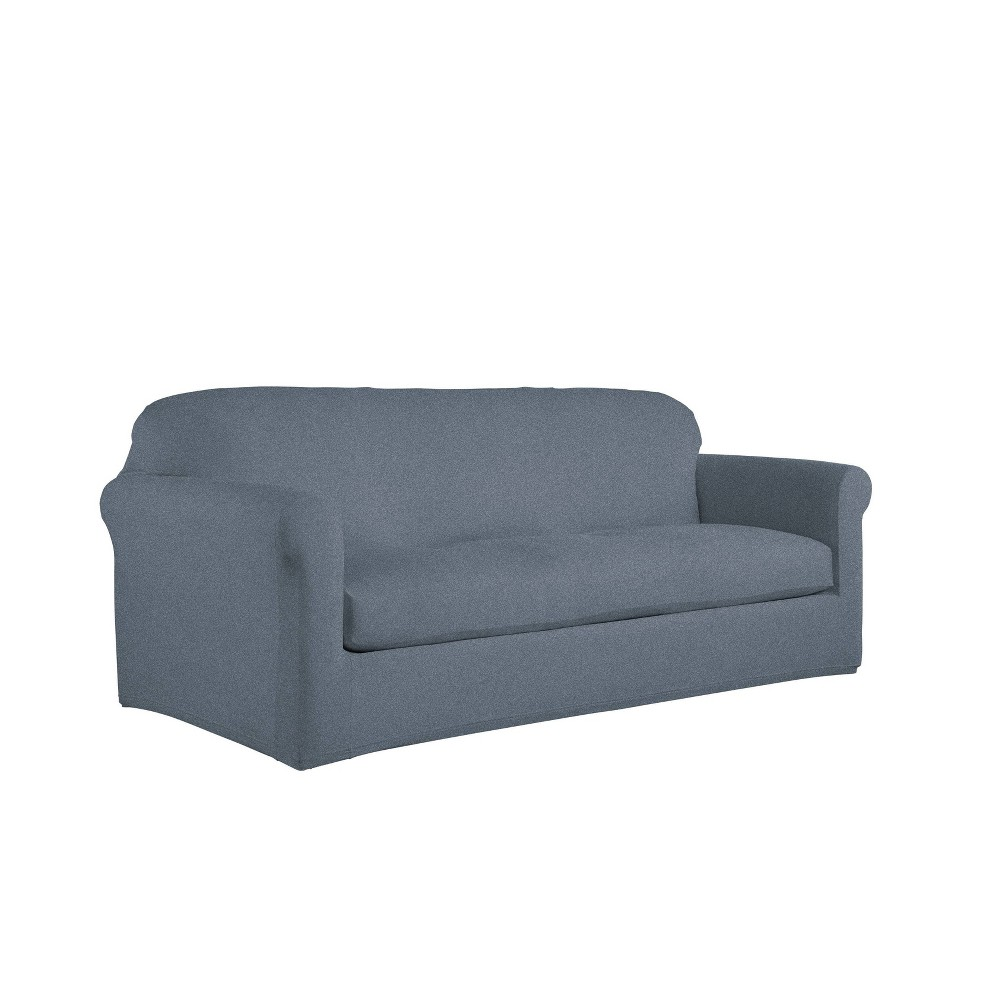 Image of 2pc Sofa Box Reversible Stretch Suede Slipcover Alloy/Blue - Serta