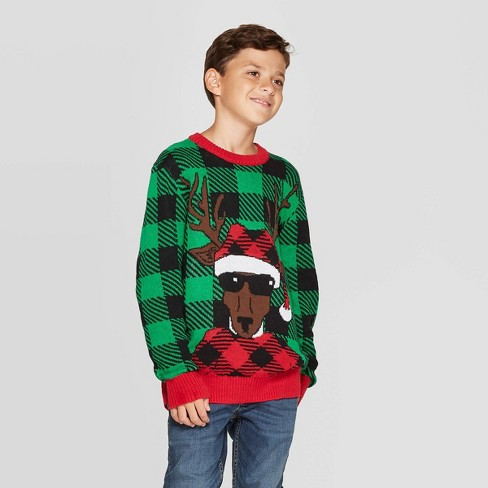 Ugly Christmas Sweater.Well Worn Boys Buffalo Deer Ugly Christmas Sweater Green
