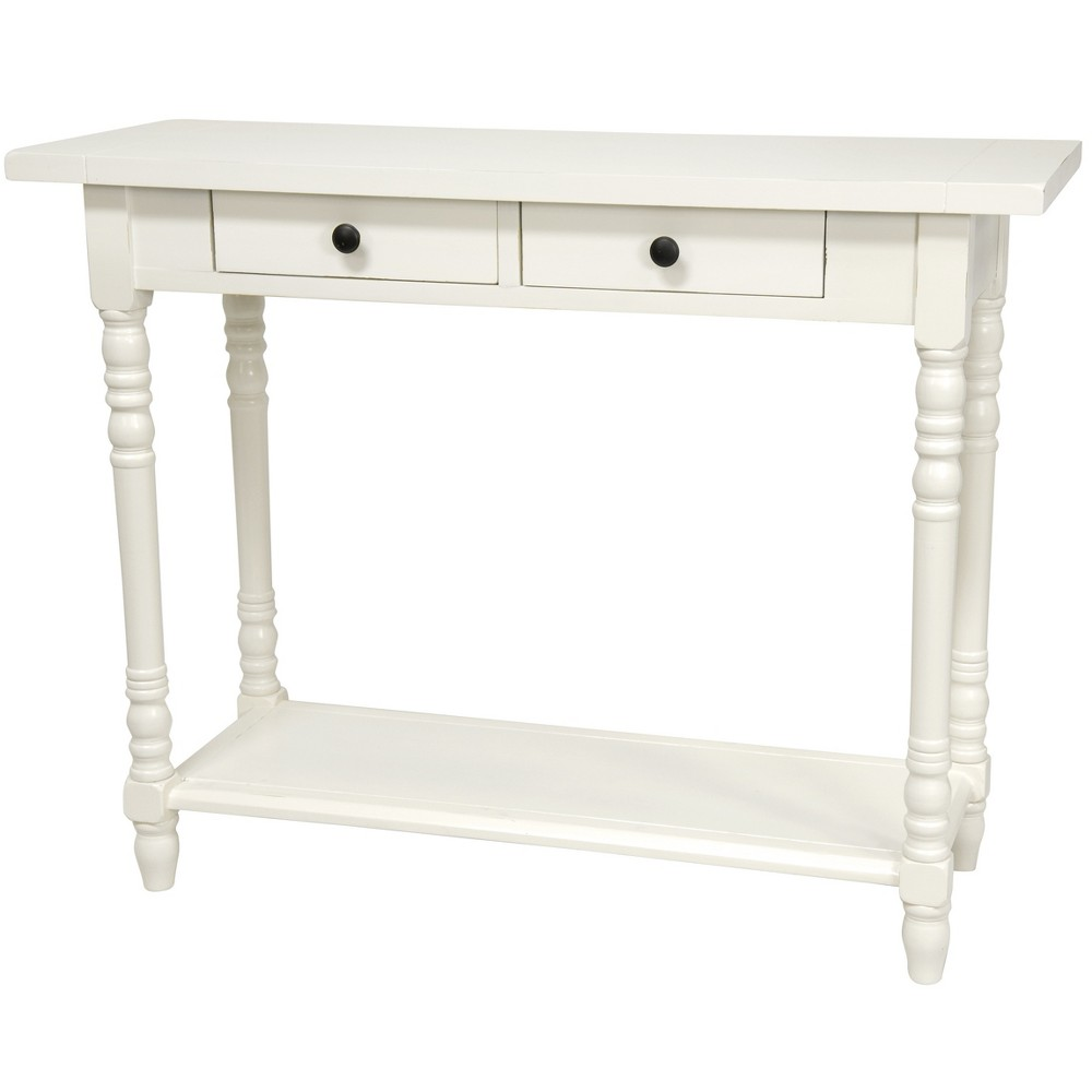 Oriental Furniture 29 Classic 2 Drawer Foyer Table White