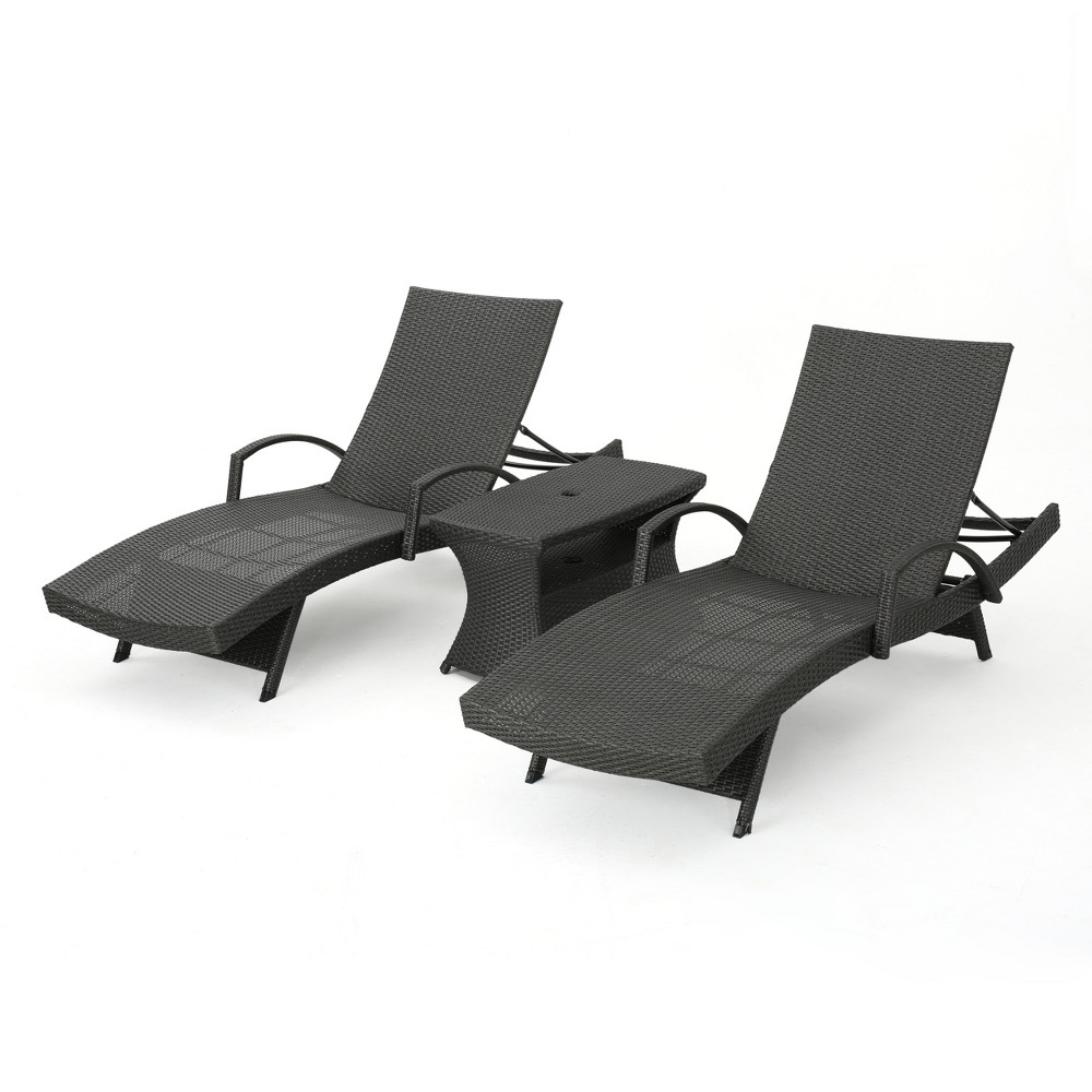Salem 3pc Wicker Adjustable Arm Chaise Lounge Set - Gray - Christopher Knight Home