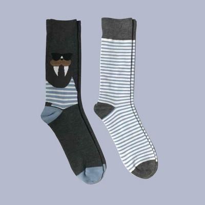 Men's 2pk Walrus Novelty Crew Socks   Goodfellow & Co™ Blue 6 12 by Goodfellow & Co
