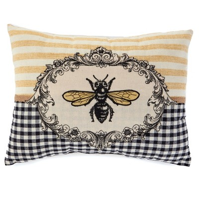 Lakeside Honey Bee Accent Pillow with Yellow Striped Lines and Black Checkering