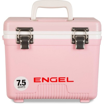 Engel 7.5-Quart 8-Can EVA Gasket Seal Ice and DryBox Cooler with Carry Handles and Shoulder Strap, Pink