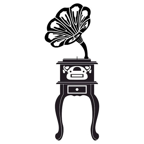 Phonograph Wall Decal - Black - image 1 of 2