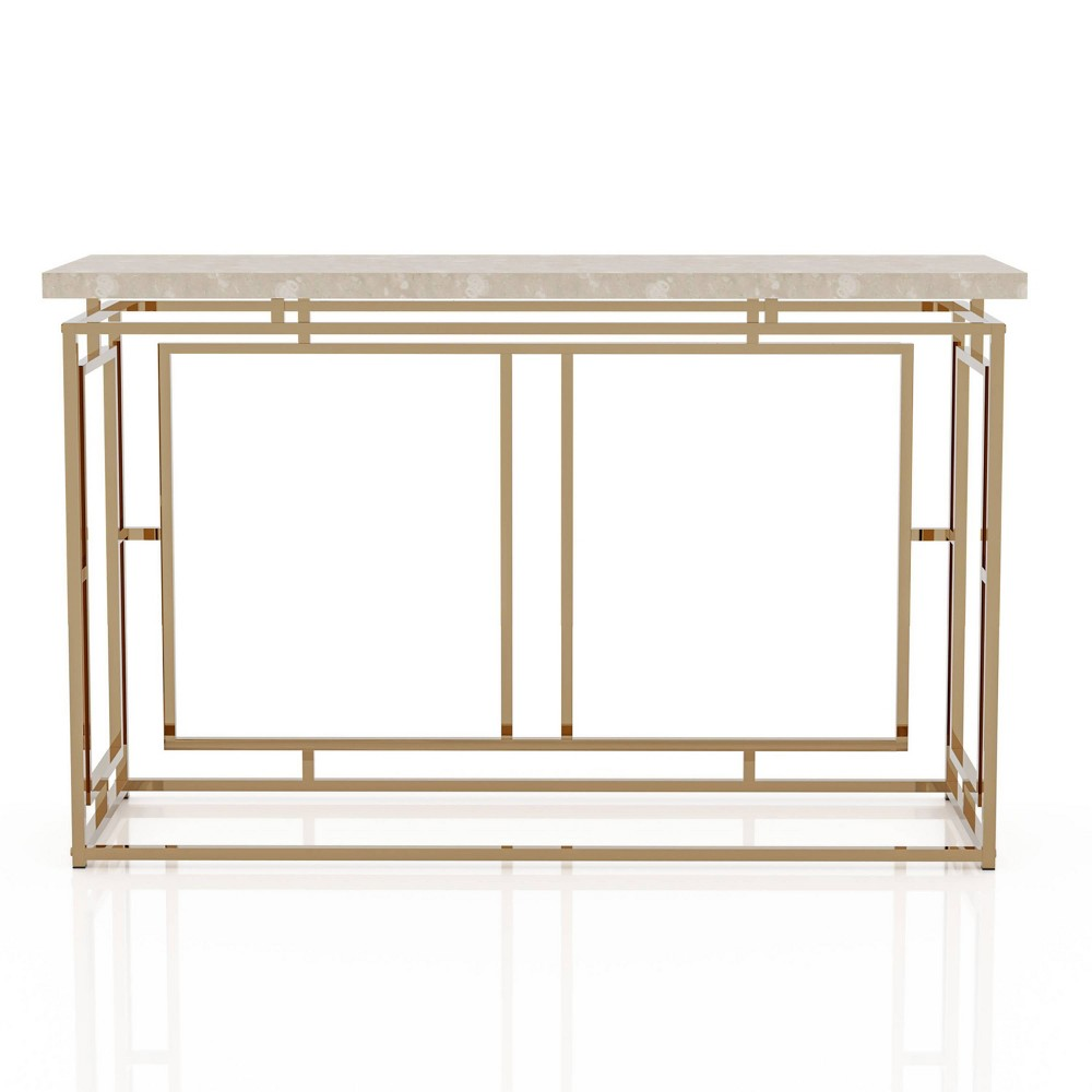 Grullen Faux Marble Top Sofa Table Champagne Mibasics