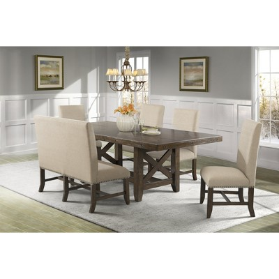Bon Francis 6pc Dining Set Table, 4 Fabric Back Side Chairs And Fabric Back  Bench Chestnut Brown   Picket House Furnishings