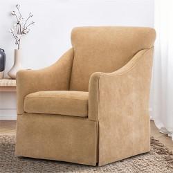 Remarkable Low Profile Tufted Upholstery Urban Swivel Chair Beige Short Links Chair Design For Home Short Linksinfo
