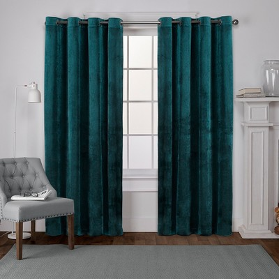 "Set of 2 84""x54"" Velvet Heavyweight Grommet Top Window Curtain Panel Teal - Exclusive Home"