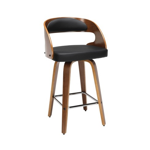 26 Bentwood Frame Swivel Seat Counter Height Barstool With Vinyl Back And Cushion Black Ofm Target