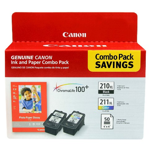 Canon 210/211 Single & 2pk Ink Cartridges - Black, Tri-color - image 1 of 4