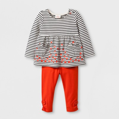 Baby Girls' 2pc Long Sleeve Stripe Pocket Tunic with Leggings - Cat & Jack™ Orange 24M
