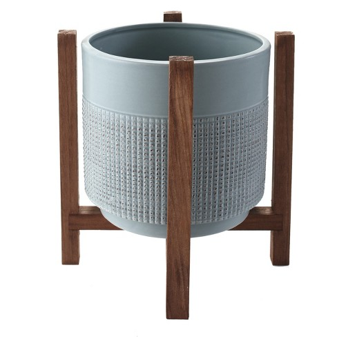 Lakeside Ceramic Planter on Wood Stand - Indoor/Outdoor Decorative Pot - image 1 of 2
