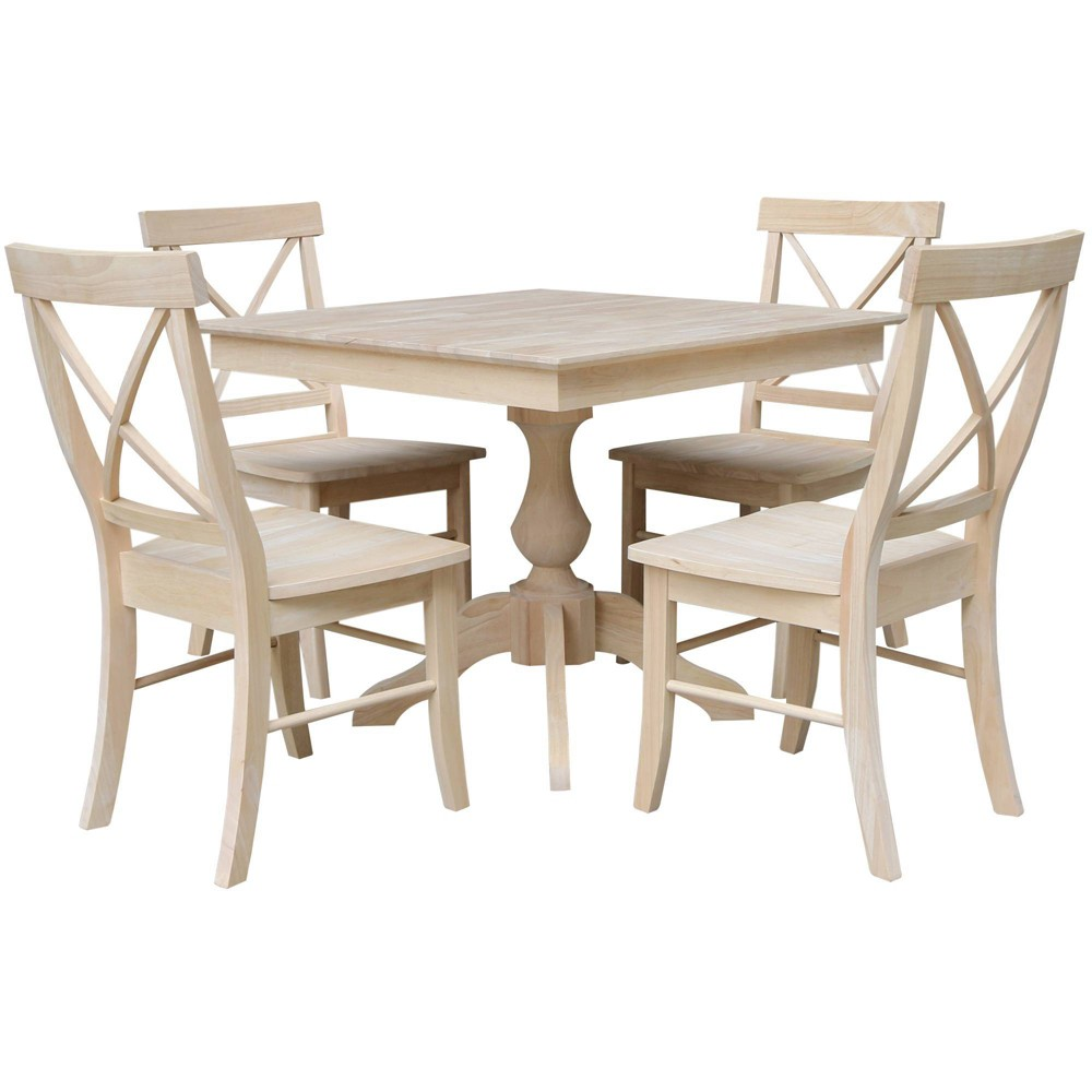 Set Of 5 36 34 X36 34 Cassandra Square Top Pedestal Table With 4 X Back Chairs Dining Sets Unfinished International Concepts