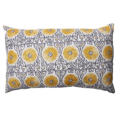 Pillow Perfect Riya Rectangular Throw Pillow - 18.5 x11.5  - Gray/Yellow