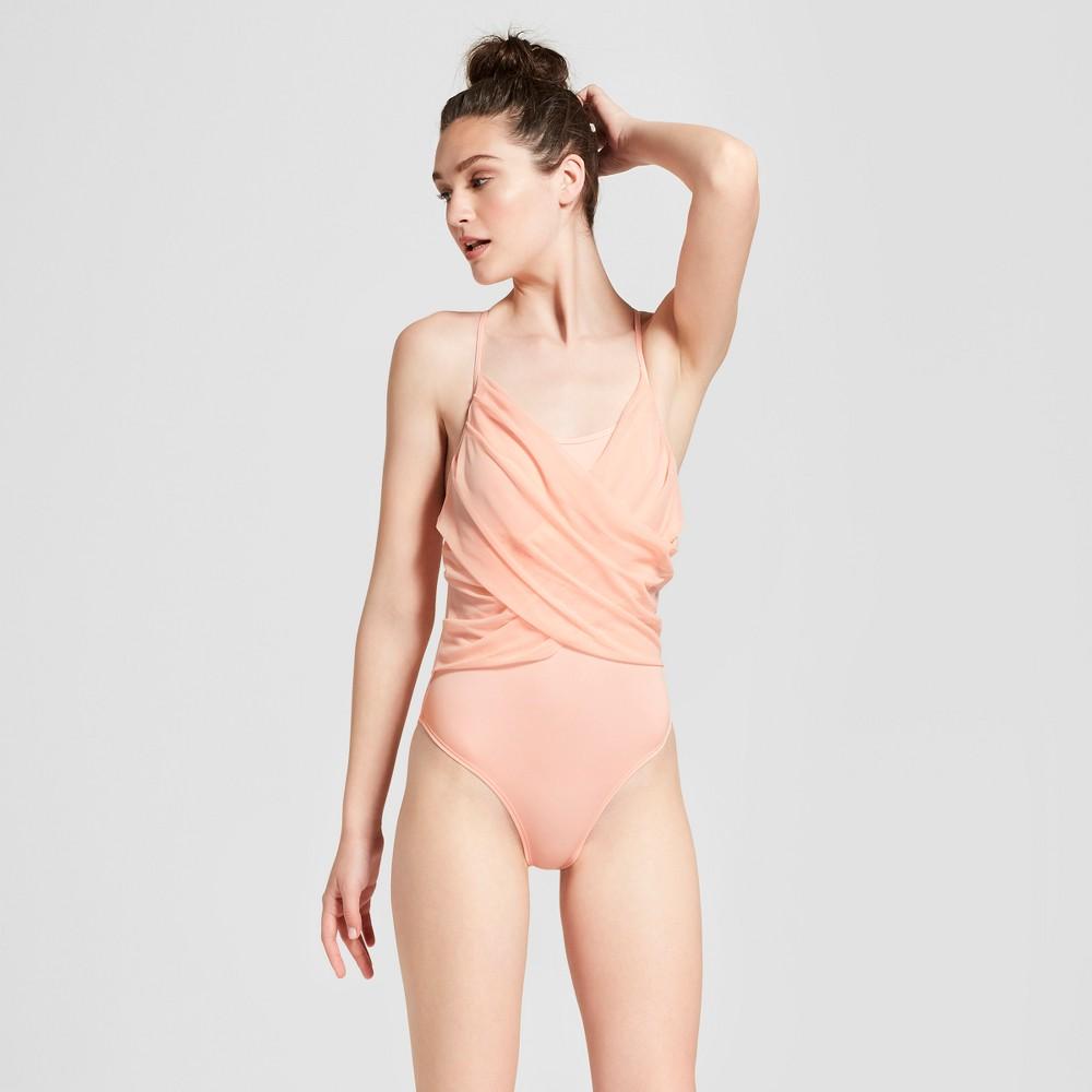 Women's Drape Front Body Suit - JoyLab Light Pink XS