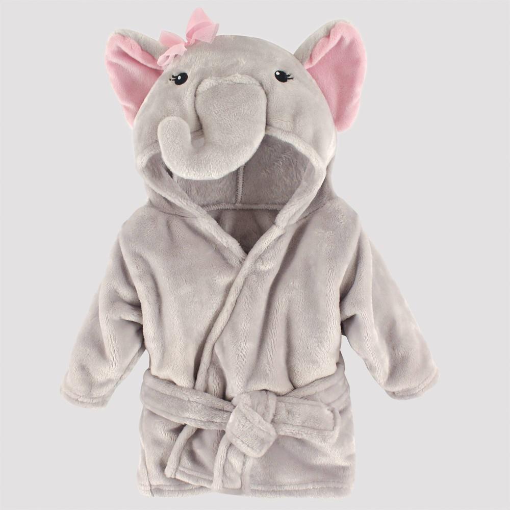 Image of Hudson Baby Plush Pretty Elephant Bathrobe - Gray 0-9M