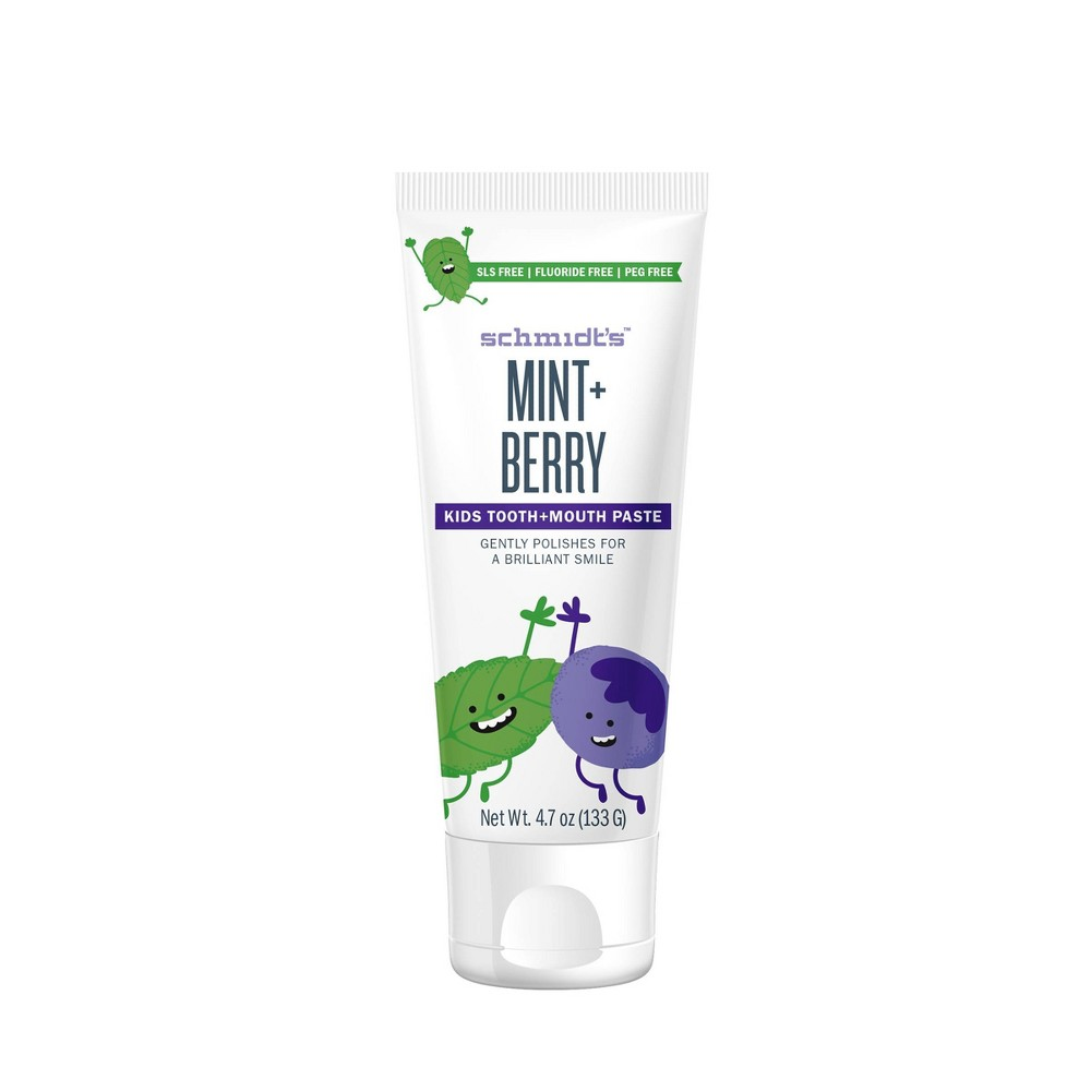 Image of Schmidt's Mint + Berry Fluoride-Free Mouth and Toothpaste for Kids - 4.7oz