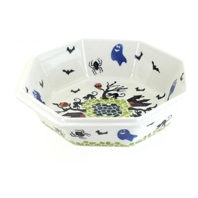 Blue Rose Polish Pottery Monster Mash Large Octagonal Bowl