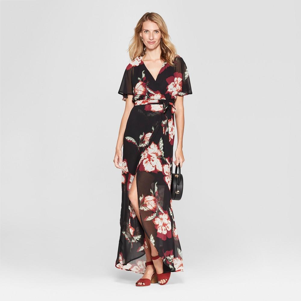 Women's Floral Print Maxi Dress - Lux II - Black 14