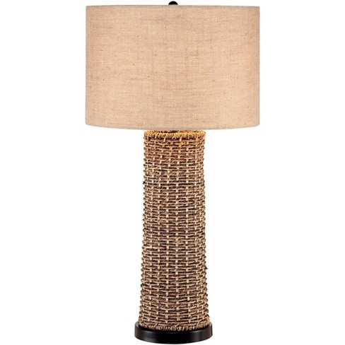 360 Lighting Coastal Table Lamp Woven Seagrass Burlap Drum Shade for Living Room Family Bedroom Bedside Nightstand Office - image 1 of 4