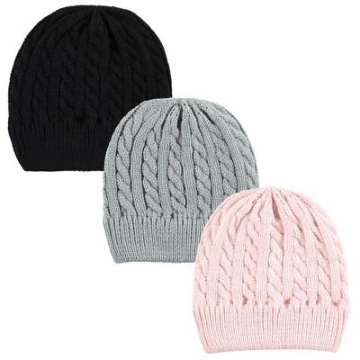 Hudson Baby Family Knitted Caps 3pk, Pink Black